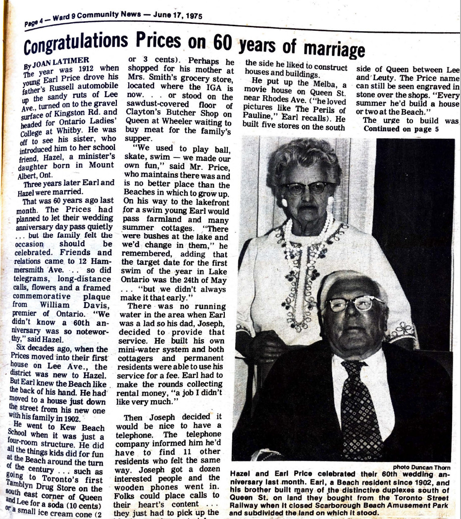 Article about Earl and Hazels 60th anniversary