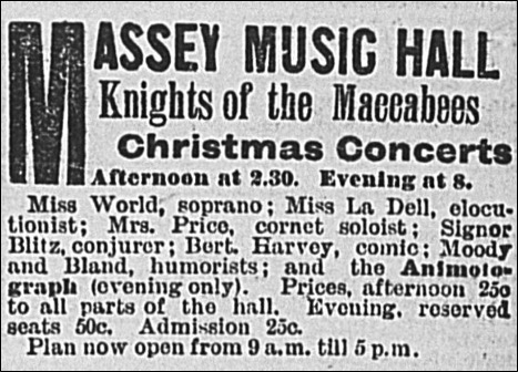 Advertisement for Massey Music Hall Concert Featuring Mrs Helen Price