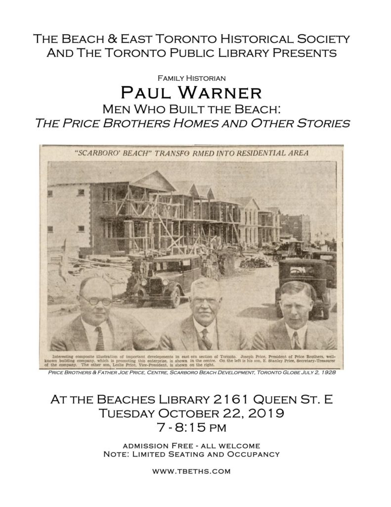 Poster for Price Brothers talk October 2019
