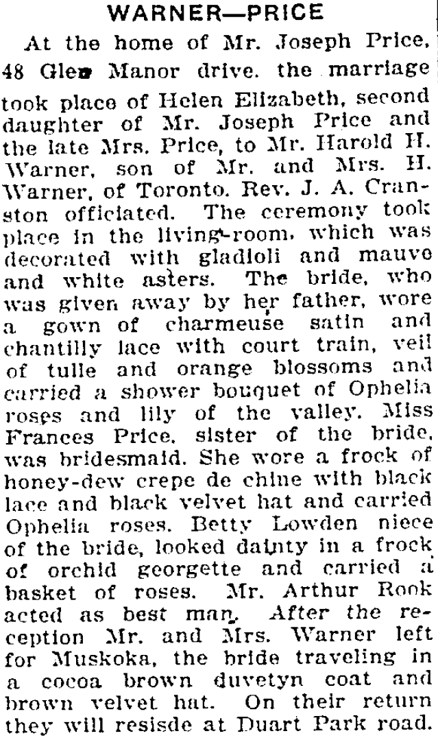 Article on the Wedding of Helen Price and Harley Warner